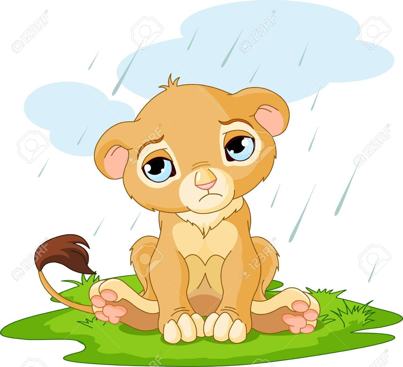 Sad Lion Cartoon a Cute Character of Sad Lion