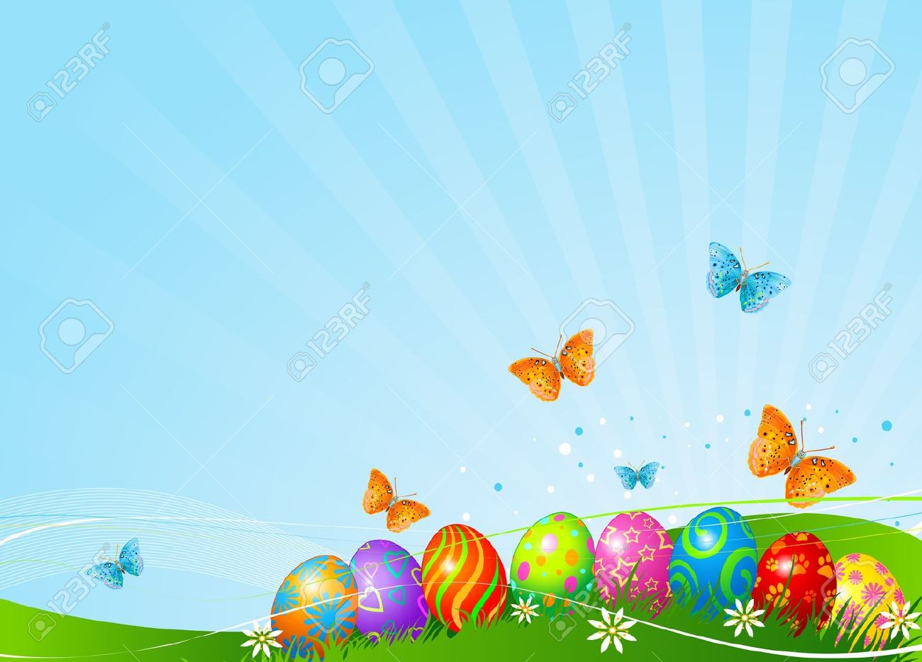 Abstract Easter Background With Beautiful Coloring Easter Eggs ...