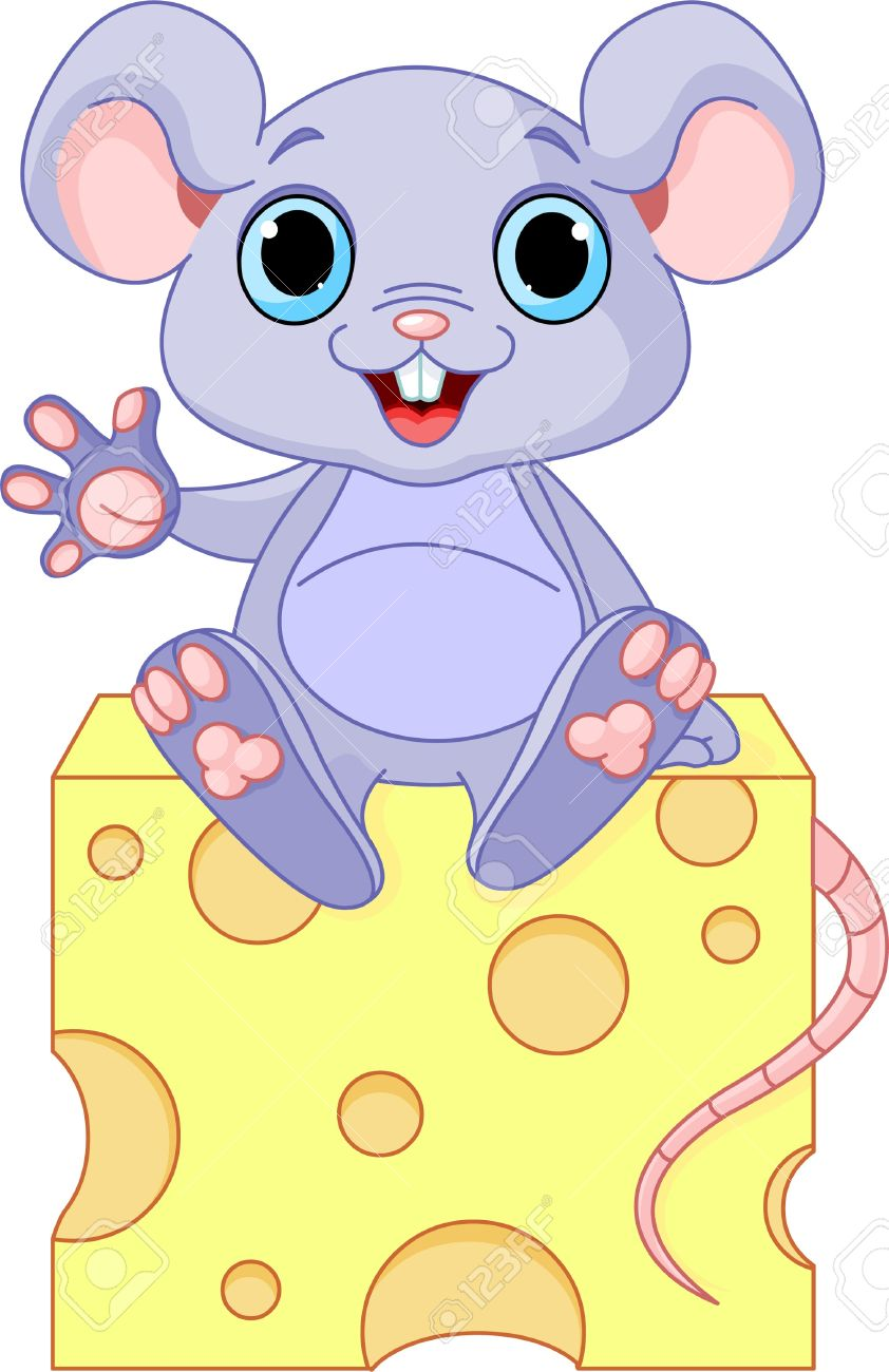 Funny mouse sitting on the piece of  cheese Stock Vector - 9295813