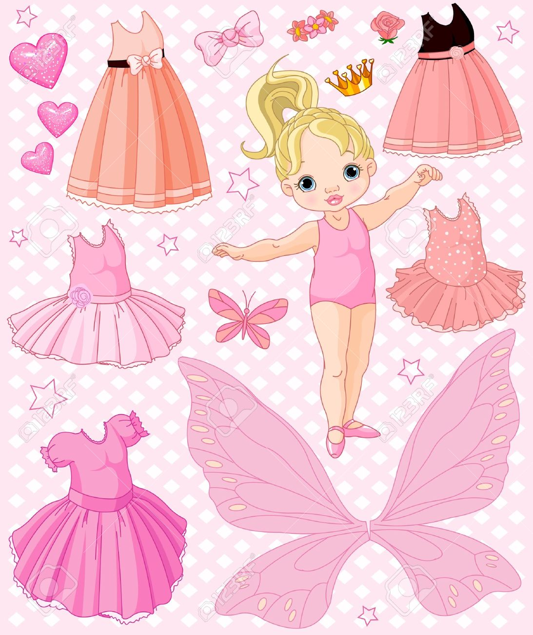 Paper Baby Doll with different ballet and princess dresses Stock Vector - 9346701