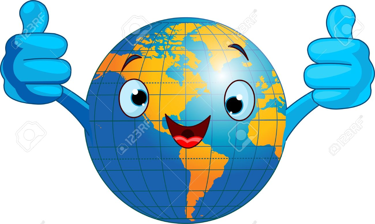 Cartoon World Globe Giving Thumbs Up Western Hemisphere Royalty