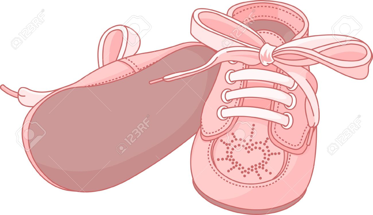 pink baby shoes on white background royalty free cliparts vectors rh 123rf com pink baby shoes clipart baby boy shoes clipart