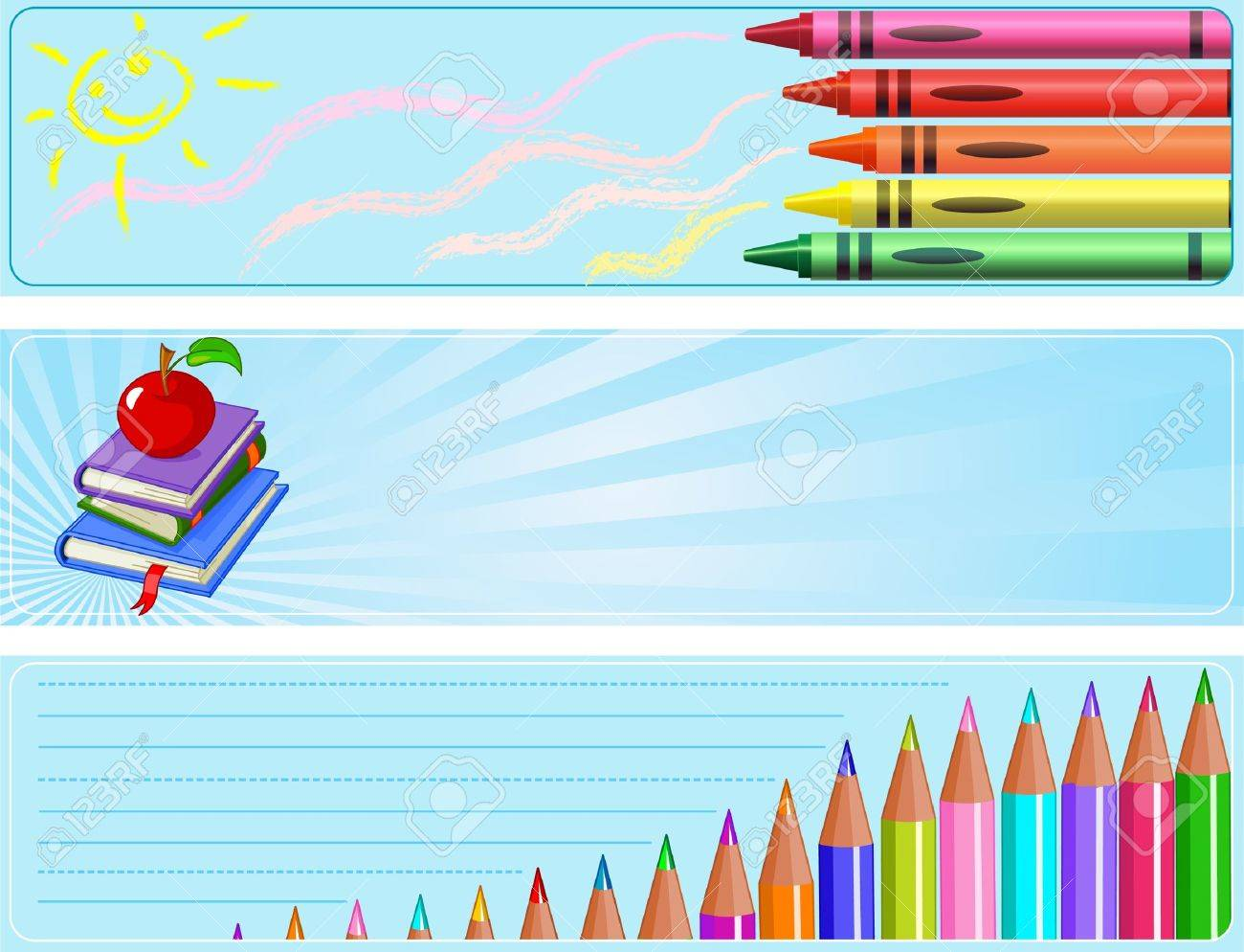 Illustrated set of three different  Back to school banners Stock Vector - 9473425