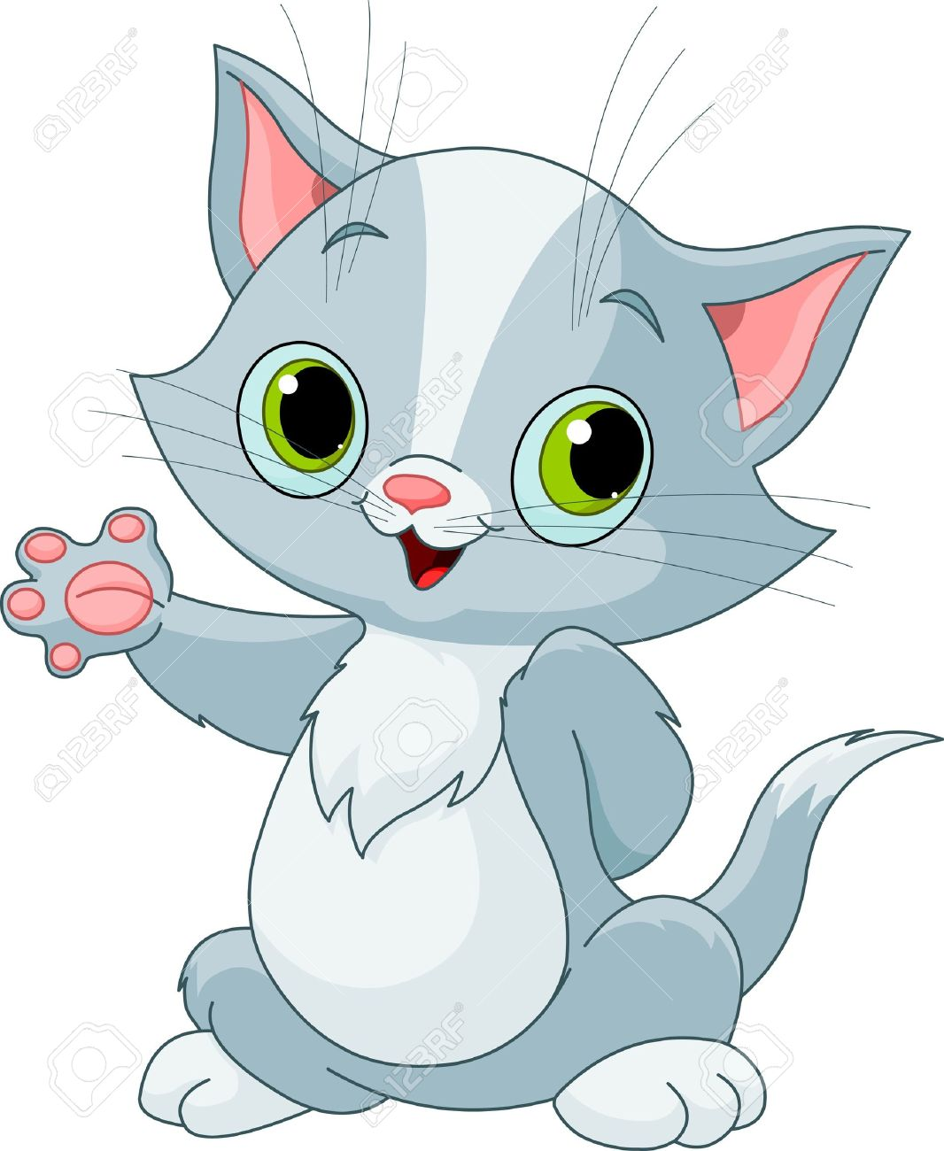 Illustration Cute Kitten Showing Royalty Free Cliparts Vectors