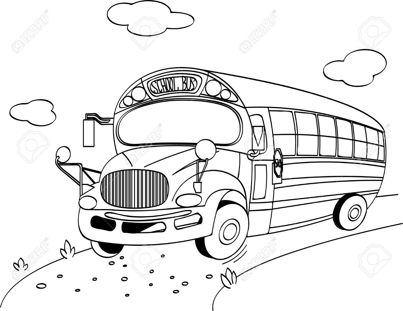 Página Para Colorear De Un Autobús Escolar Ilustraciones Vectoriales ...
