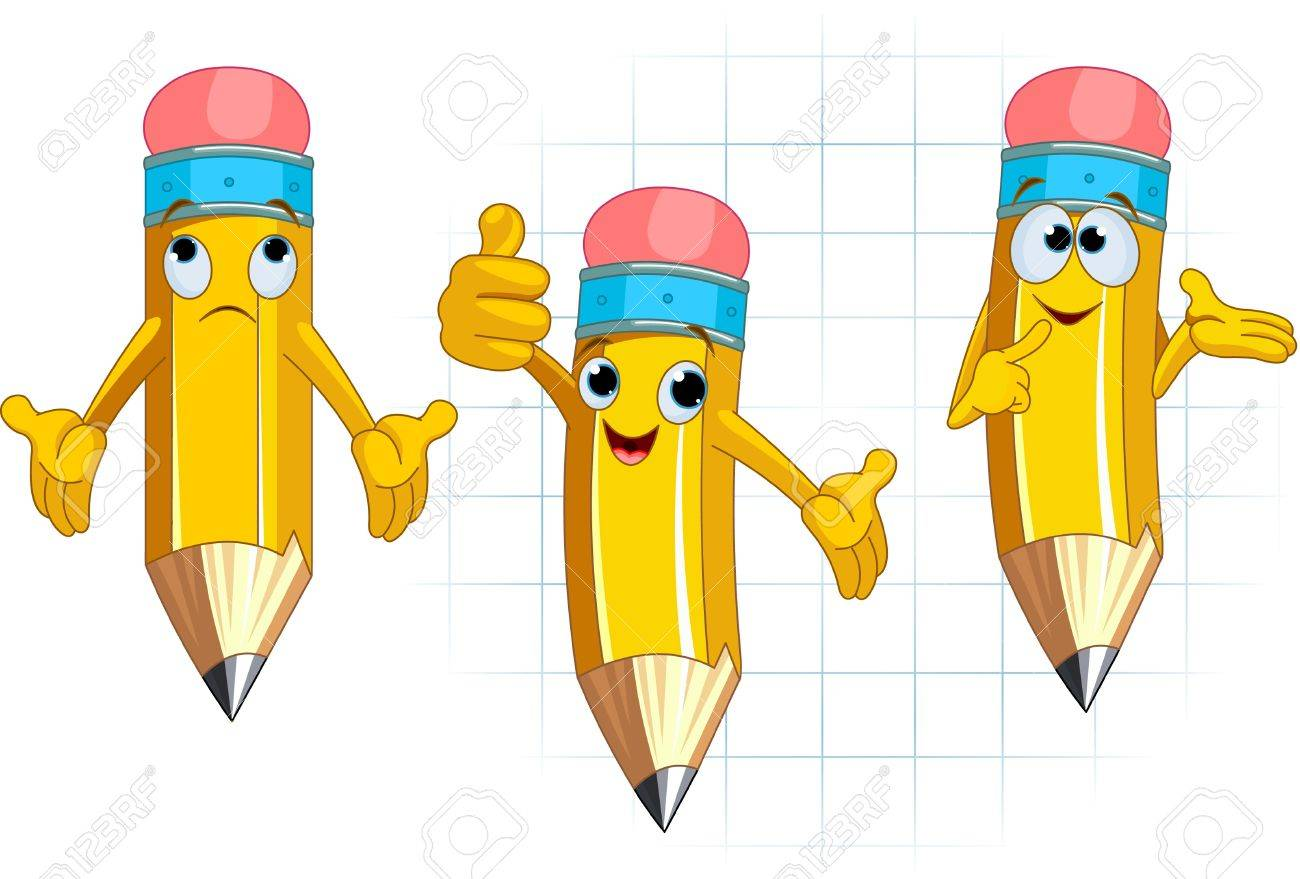 Pencil Character Different facial expressions and posing Stock Vector - 10044912