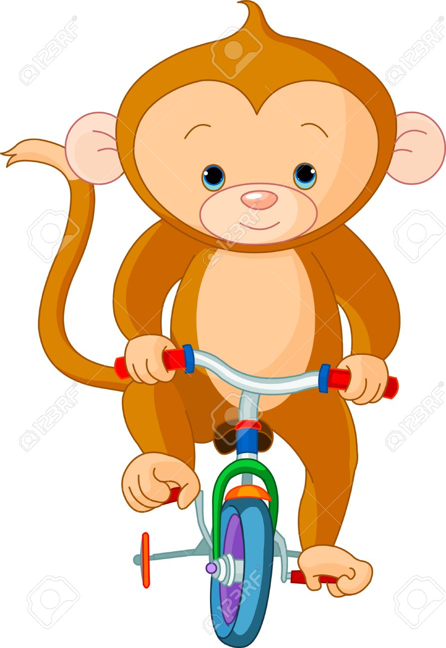 Monkey  on Bicycle in circus Stock Vector - 10102970