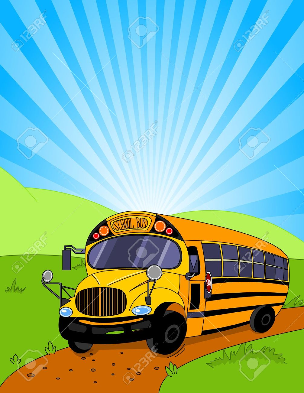 Colorful background of a School Bus Stock Vector - 10102978