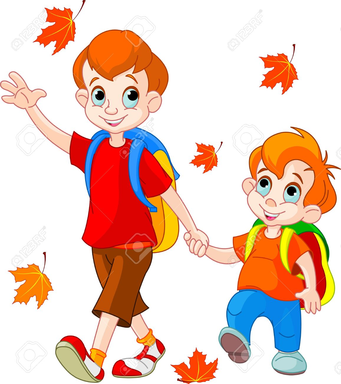 Illustration of two boys go to school - 10343469