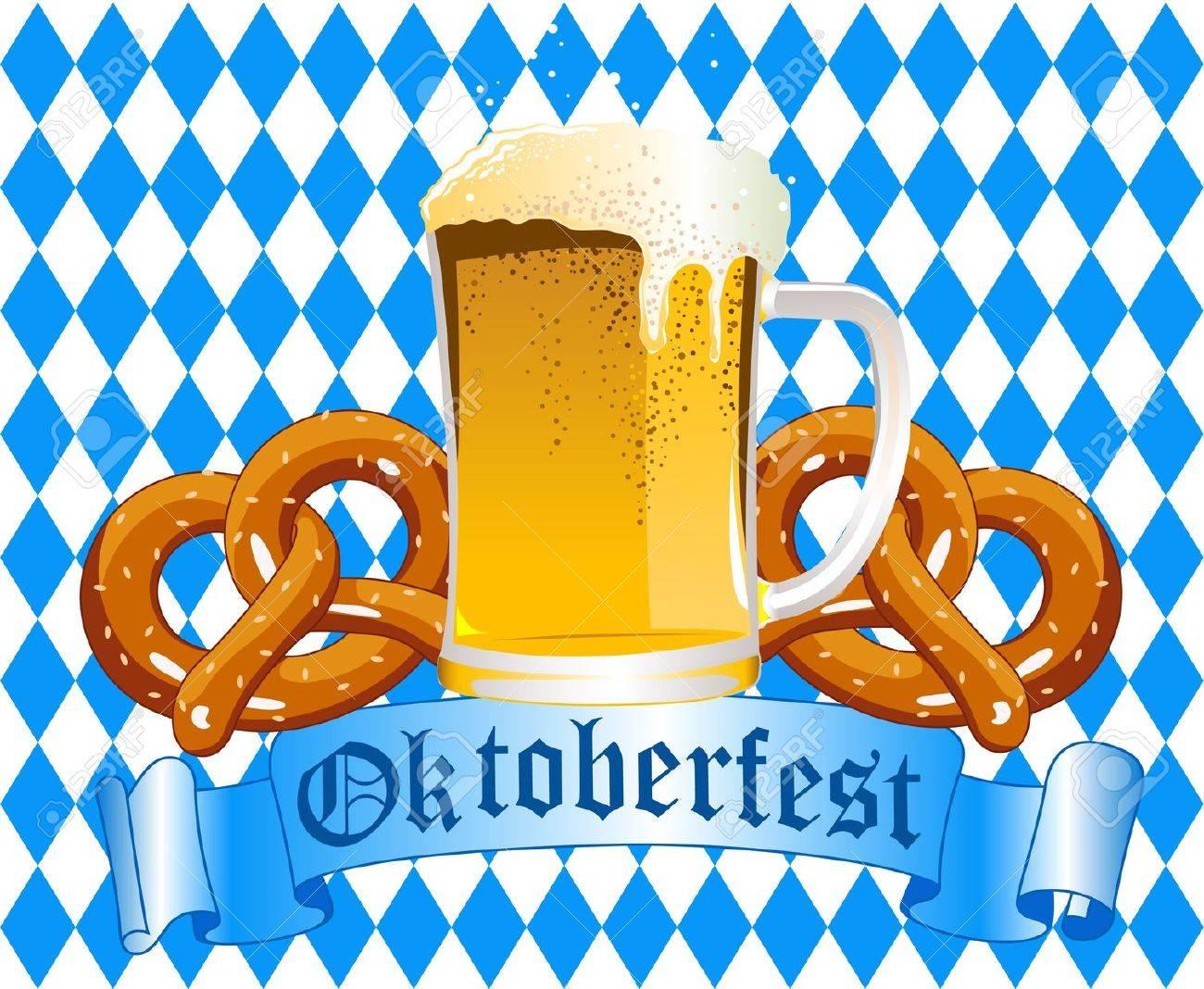 Oktober fest Celebration Background with Beer and Pretzel Stock Vector - 10370043