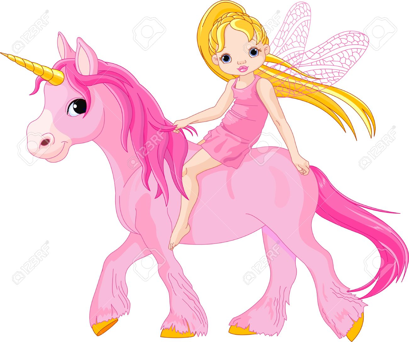 cute little fairy riding on a unicorn royalty free cliparts