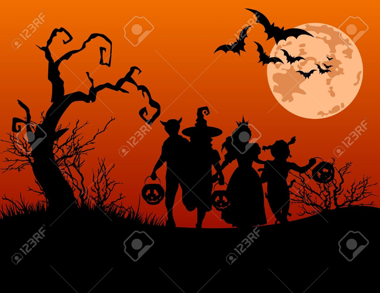 Halloween background with silhouettes of children trick or treating in Halloween costume Stock Vector - 10487114