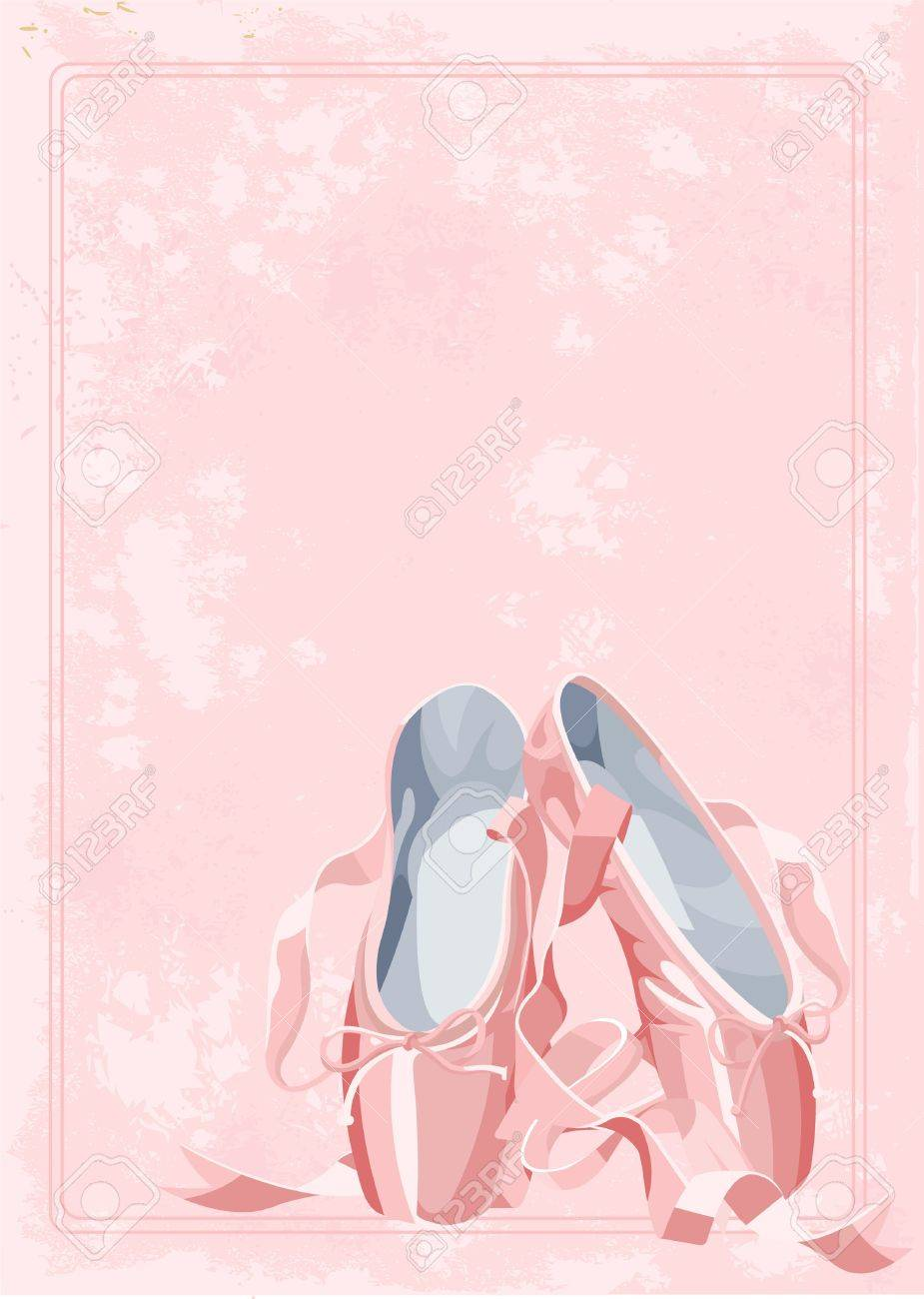 A pair of watercolor stile ballet pointes shoes on old paper background Stock Vector - 10554905