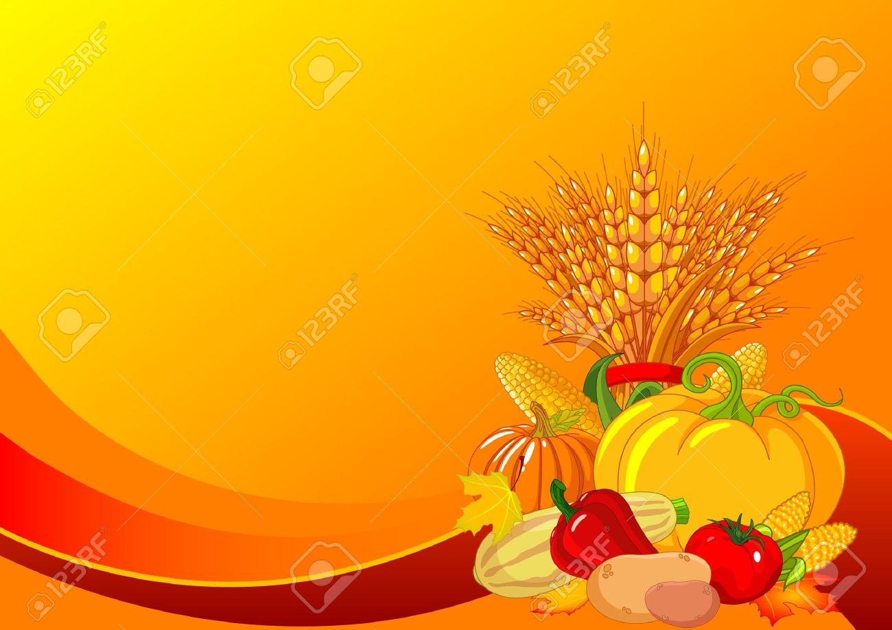 Seasonal design with plump pumpkins, wheat, vegetables and autumn leaves - 10618066