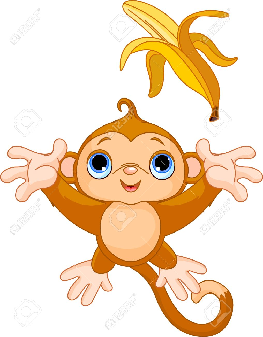 illustration of funny monkey trying to catch banana Stock Vector - 10733631