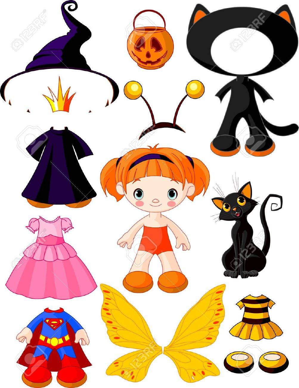 Paper Doll With Three Dresses For Halloween Party Royalty Free ...