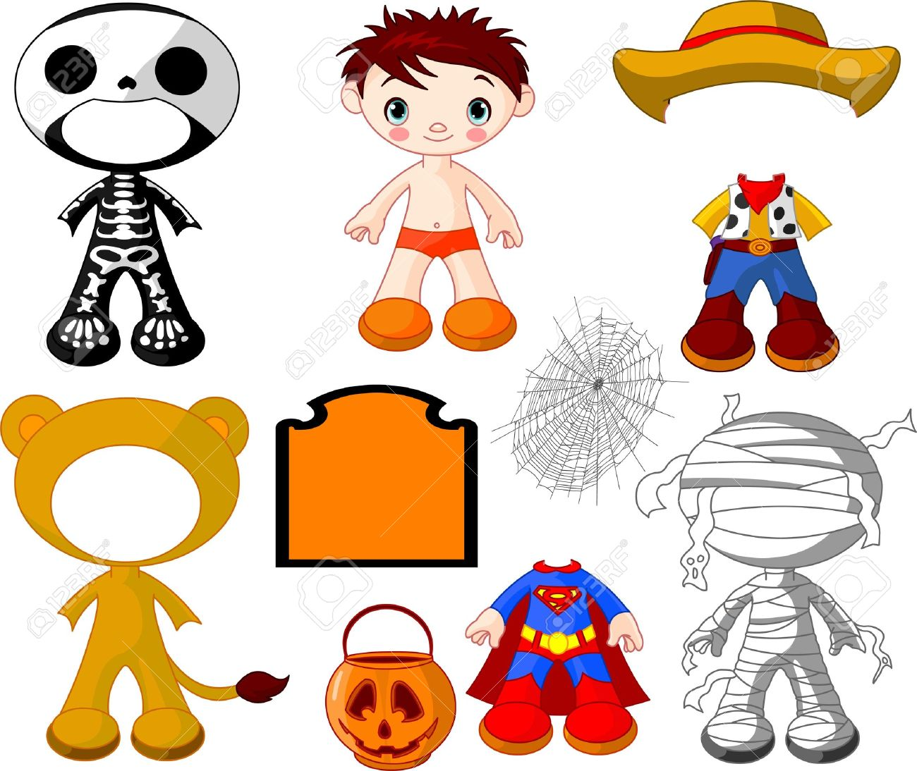 Paper Doll Boy With Costumes For Halloween Party Royalty Free ...