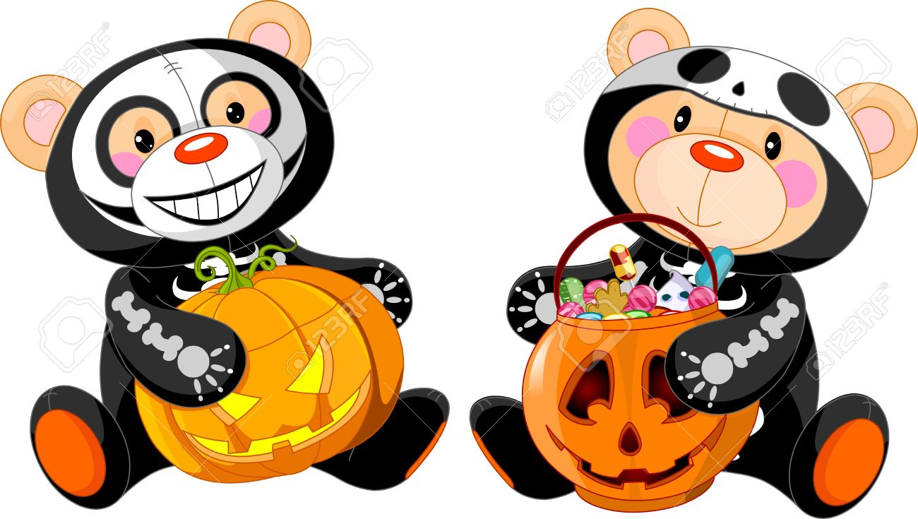 Cute Halloween Teddy Bears With Costumes And Treat Royalty Free ...