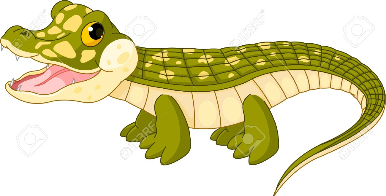 illustration of very cute baby crocodile royalty free cliparts