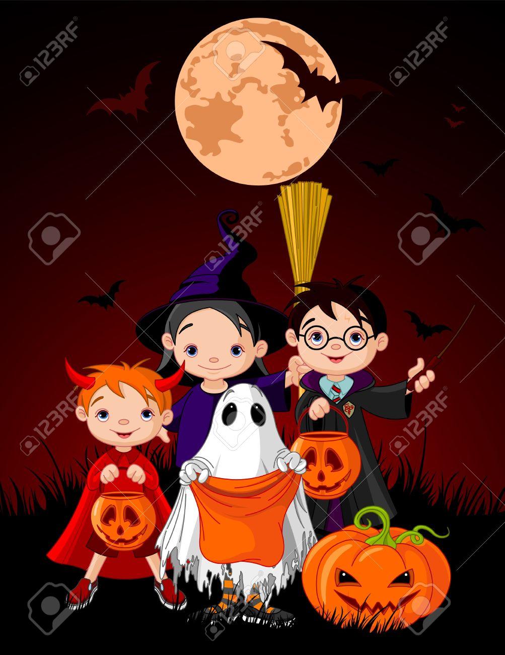 Halloween background with children trick or treating in Halloween costume Stock Vector - 10845816