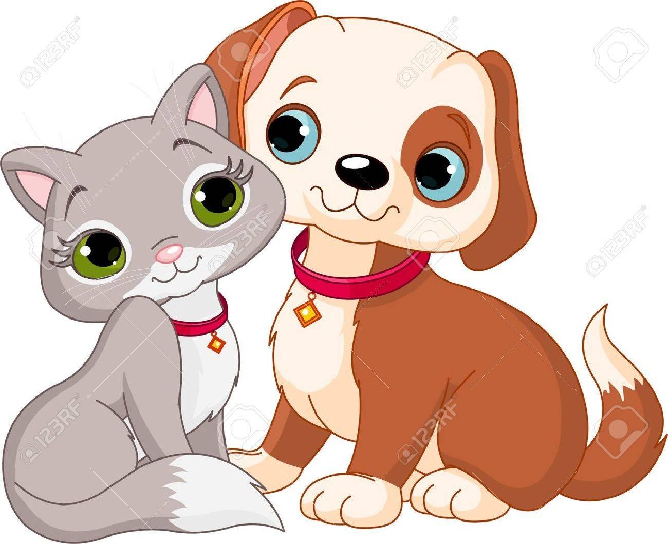 gato caricatura Perro y gato mejores amigos nunca