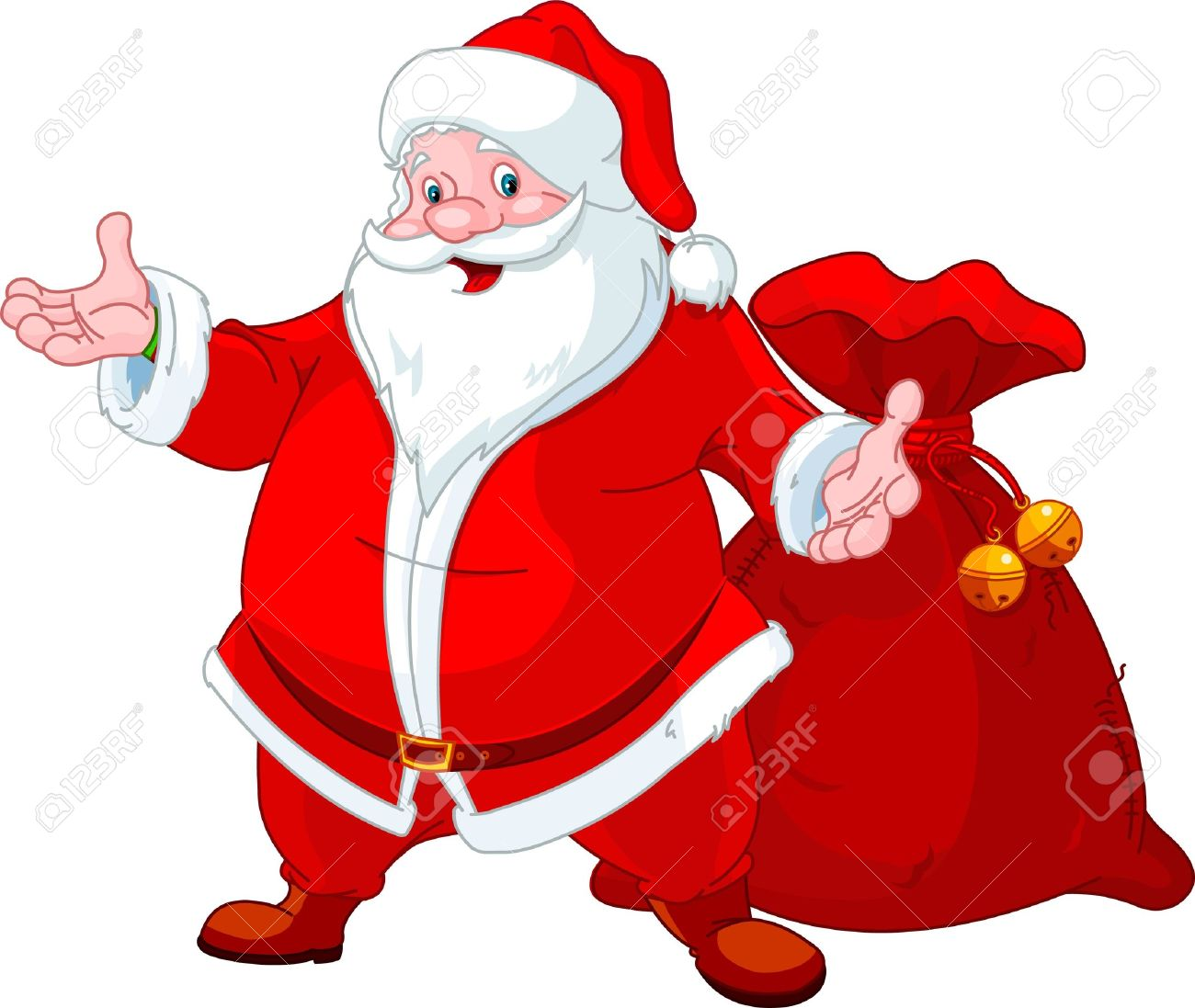 Happy Santa Claus with sack of gifts Stock Vector - 10896625