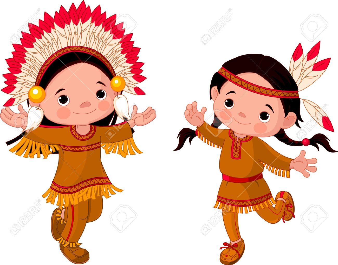 Linda Pareja De Indígenas Americanos Bailando Los Niños ...