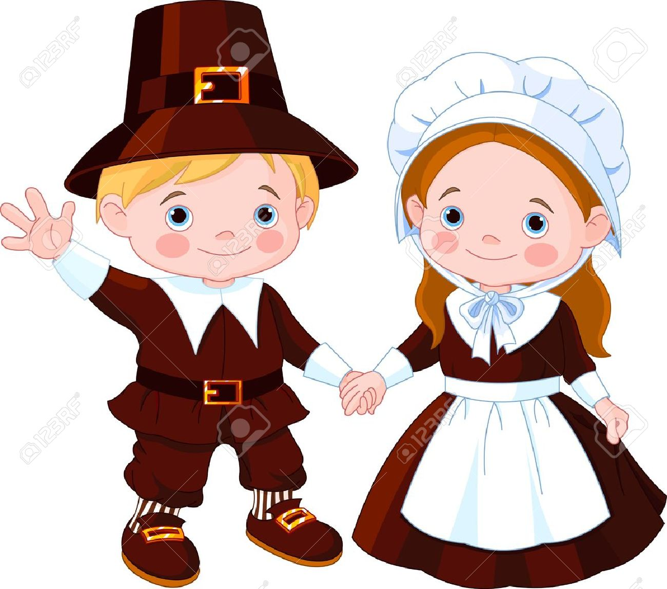 Thanksgiving Day Children Pilgrim Couple Royalty Free Cliparts