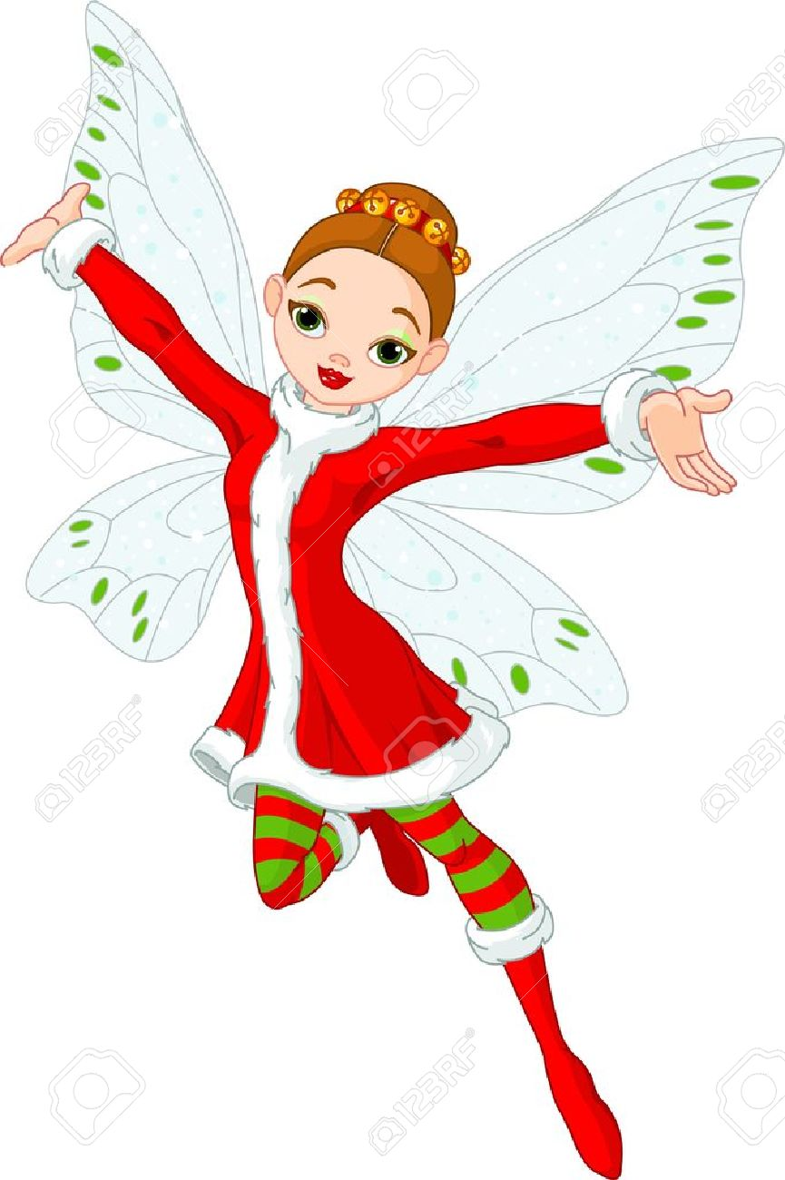 Illustration of a beautiful Christmas fairy in fly Stock Vector - 11398250