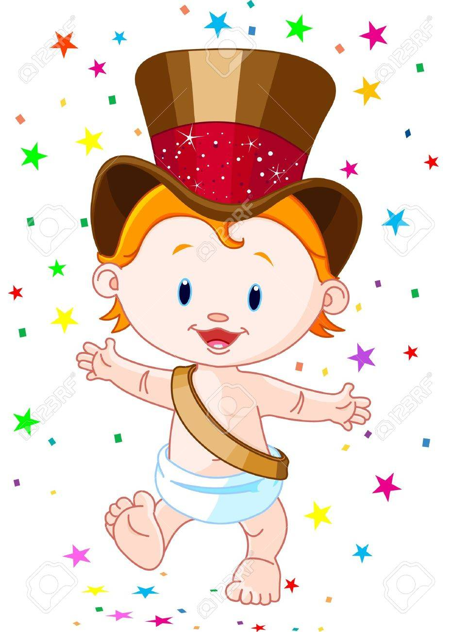 cute baby new year with top hat stock vector 11588204