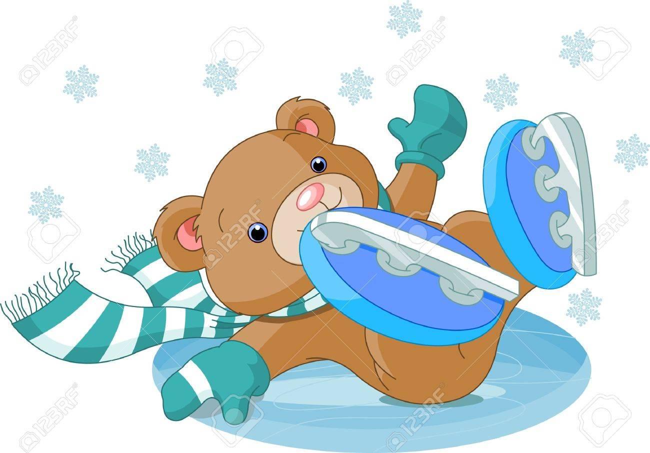 かわいいクマさんのイラストは、アイス スケート リンクに落ちた