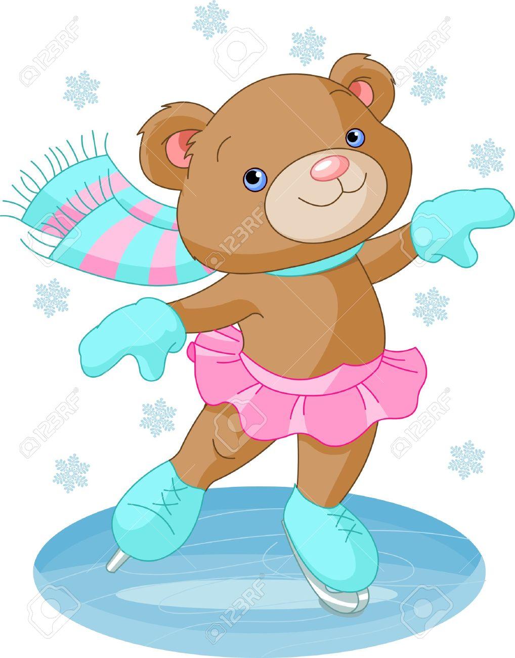 Illustration of cute bear girl on ice skates Stock Vector - 11844701