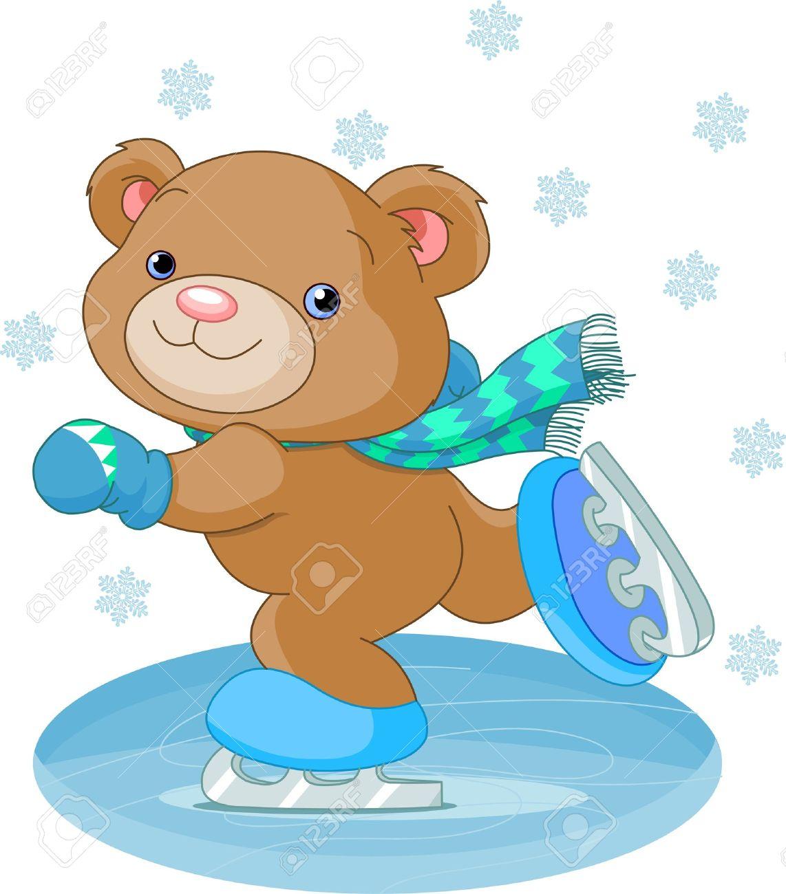 Illustration of cute bear on ice skates Stock Vector - 11844700