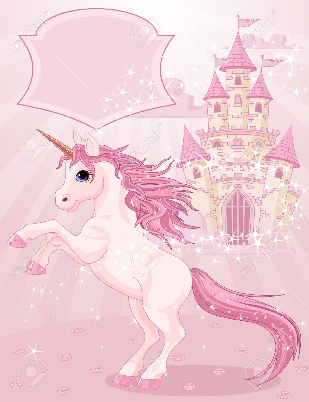 Illustration of a Fairy Tale Castle and Unicorn Stock Vector - 11844714