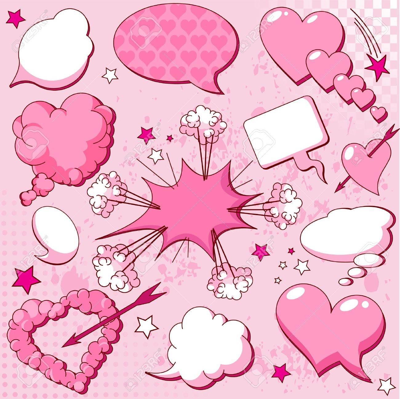 Comics Style Love Speech Bubbles Royalty Free Cliparts, Vectors ...