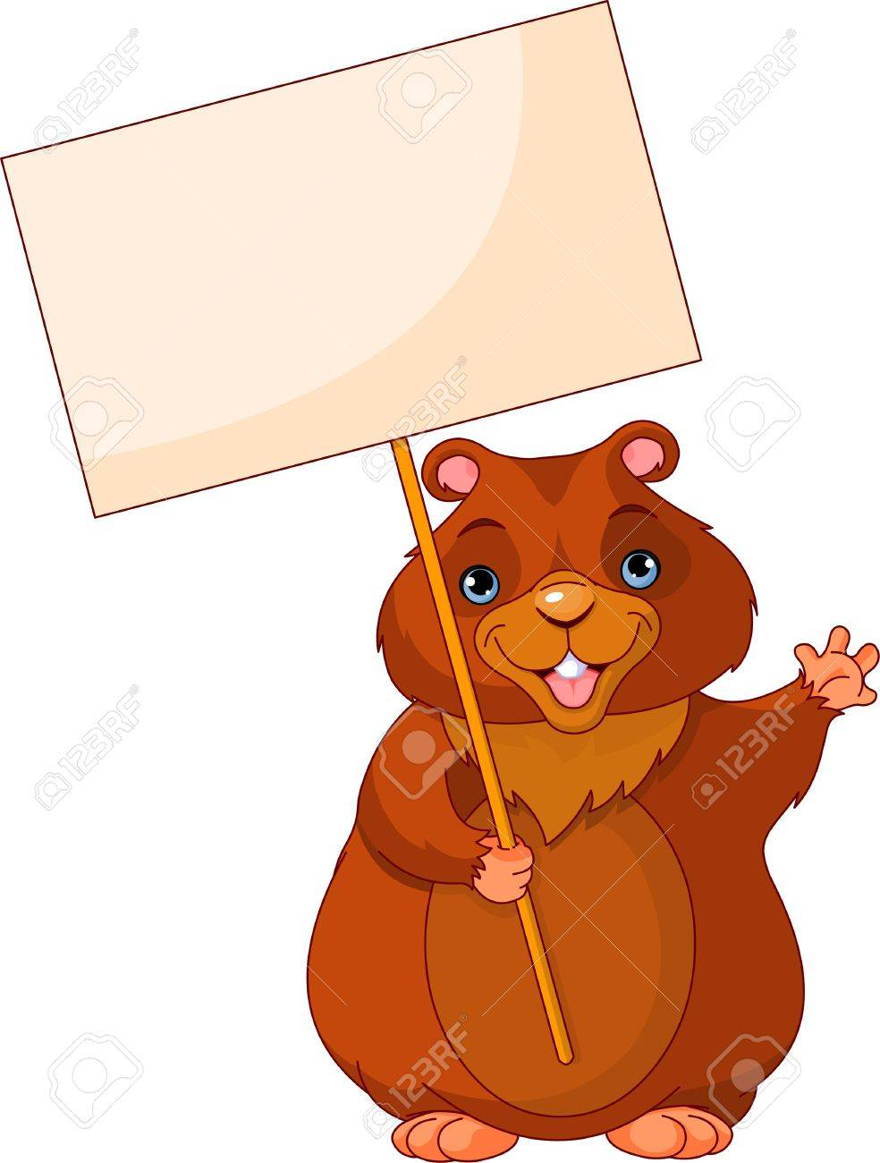funny woodchuck holding groundhog day sign royalty free cliparts