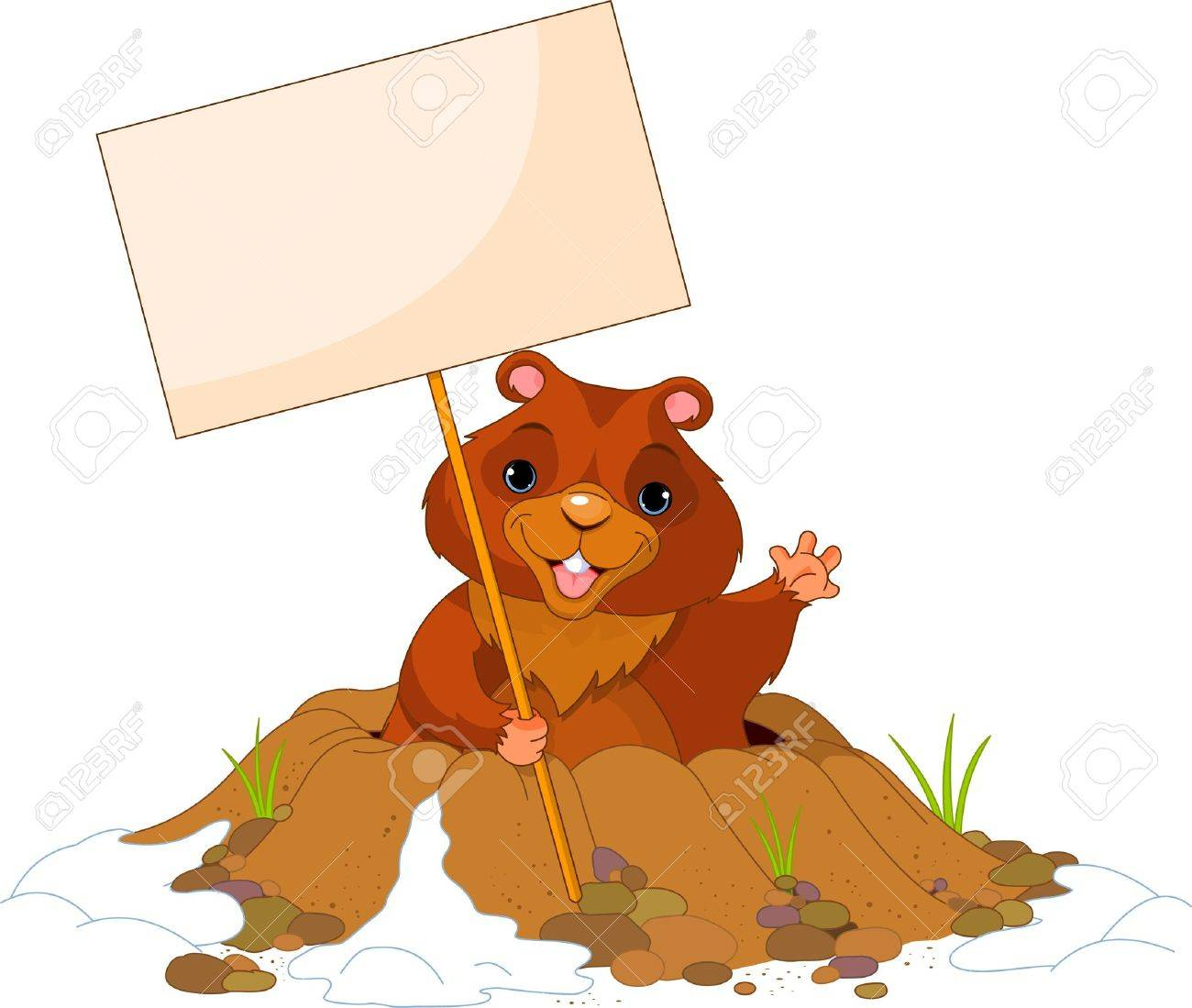 Cute Groundhog popping out of a hole with sign Stock Vector - 12061282