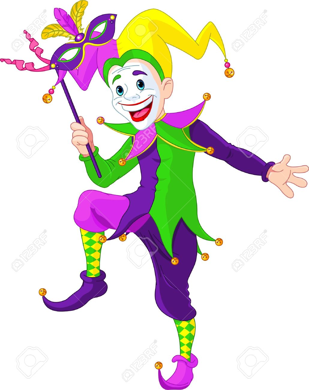 clip art illustration of a cartoon mardi gras jester holding rh 123rf com jester clipart free jester clipart black and white