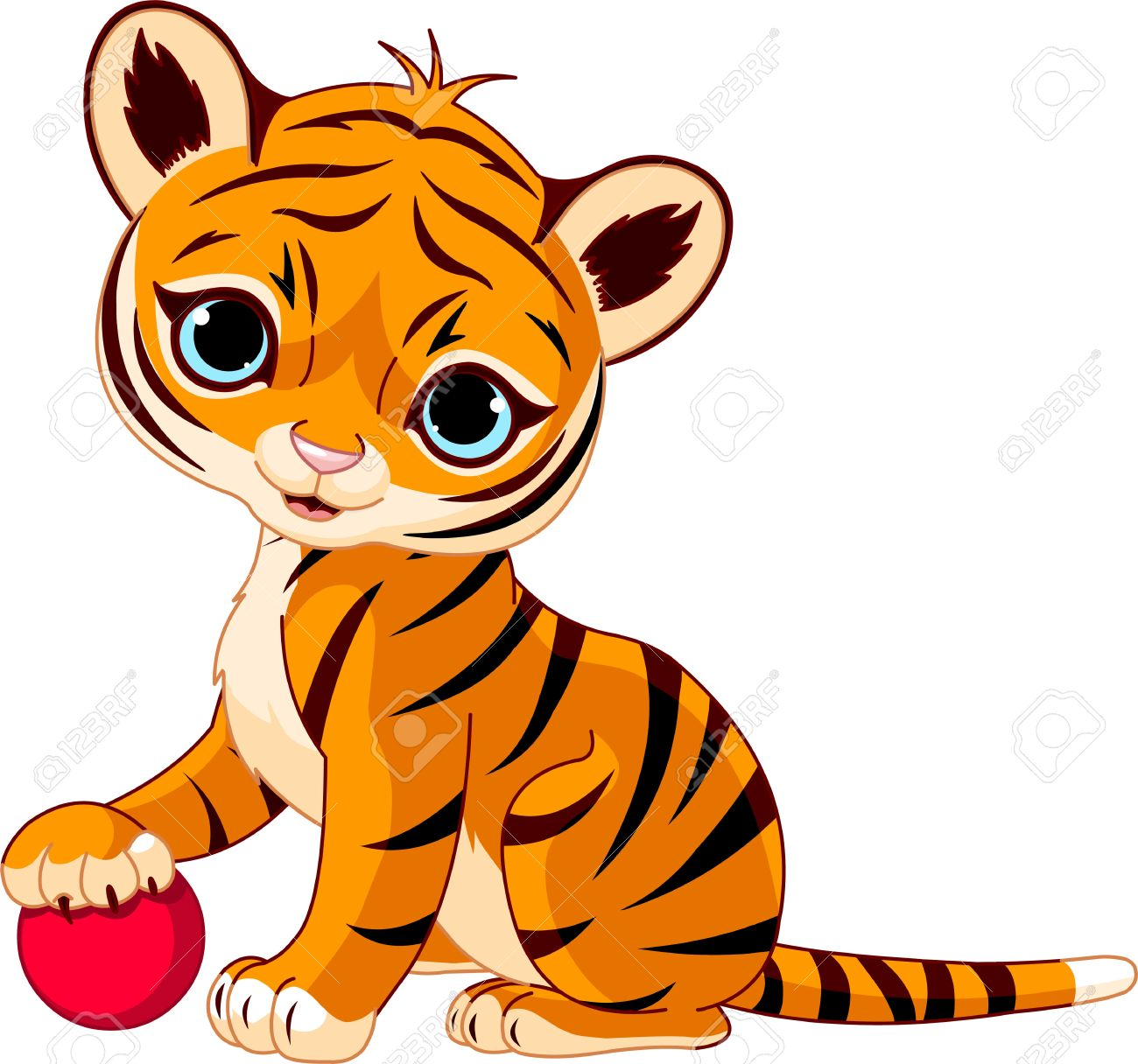 cute tiger cub playing with red boll royalty free cliparts vectors rh 123rf com tiger cub clipart cute tiger cub clipart