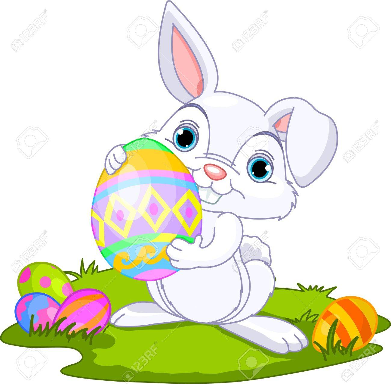 cute easter bunny carrying egg royalty free cliparts vectors and