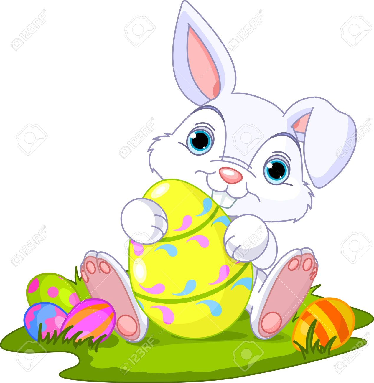 Cute Easter Bunny Holding Egg Stock Vector