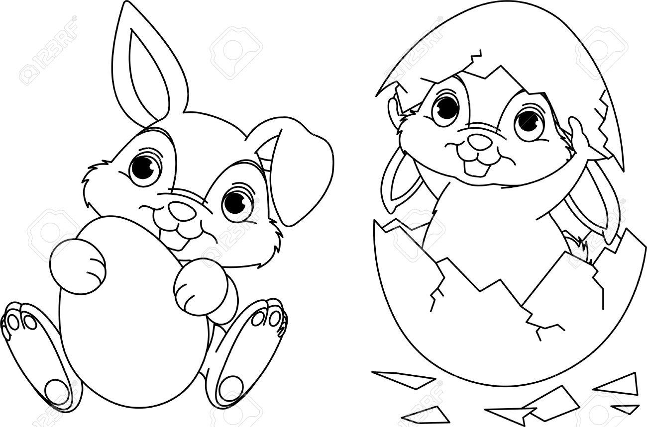 Página En Blanco Y Negro Para Colorear Conejo De Pascua ...