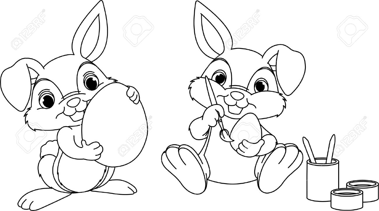 Easter Bunny Painting Eggs Coloring Page Stock Vector