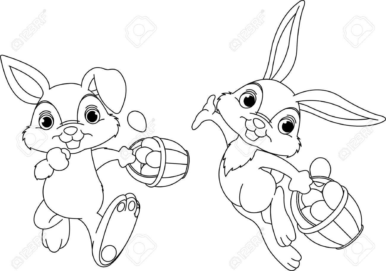 Cute Easter Bunny Hiding Eggs Coloring Page Stock Vector