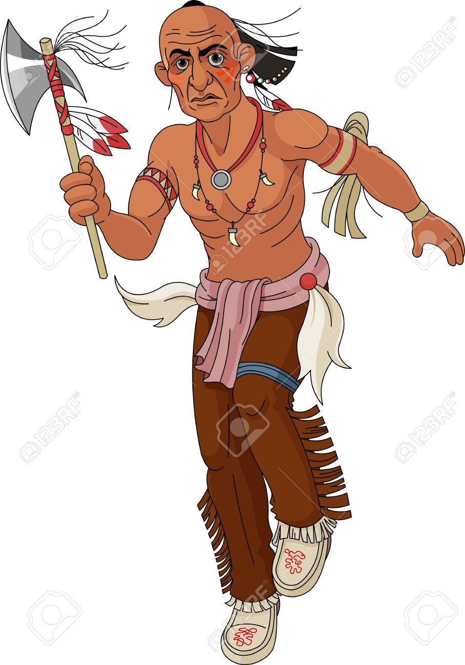 Wild west   Indian warrior with  an ax Stock Vector - 13245001