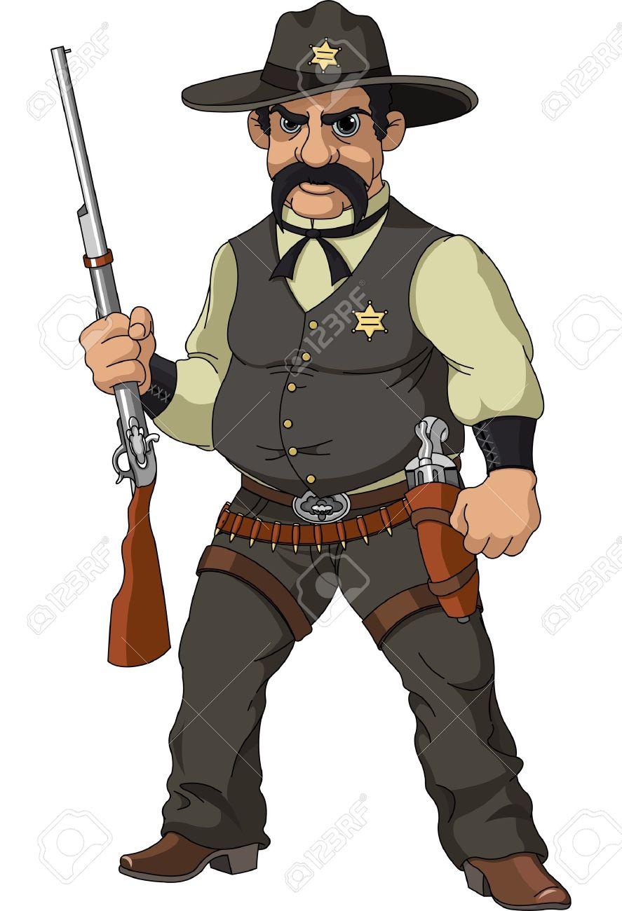 散弾銃と野生の西の漫画の保安官...