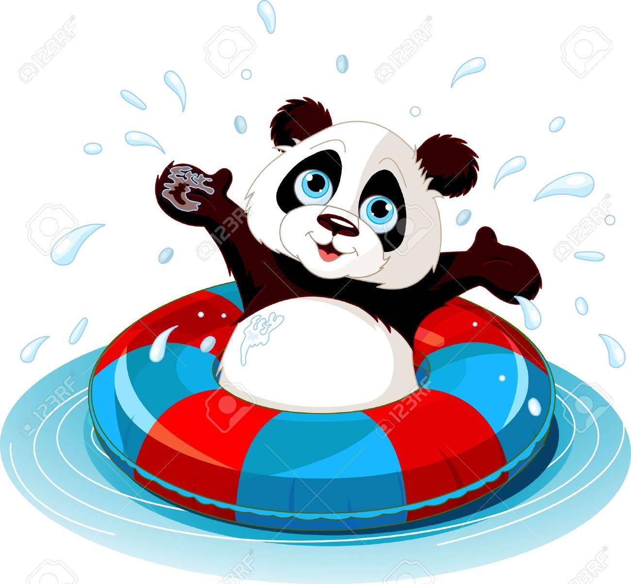 Summer fun Panda swimming - 13244997