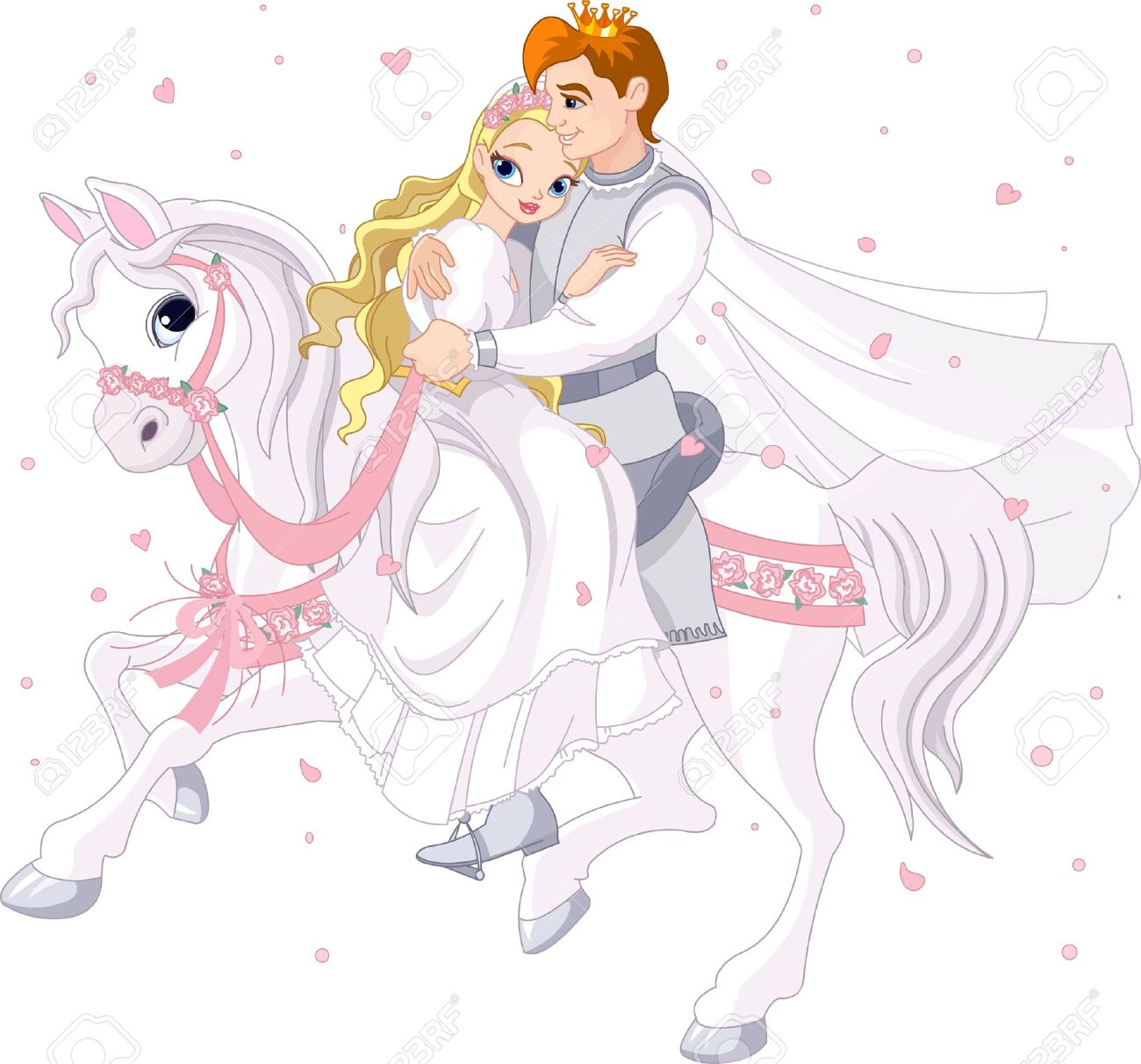 Royalty bride and groom on white horse Stock Vector - 13633497