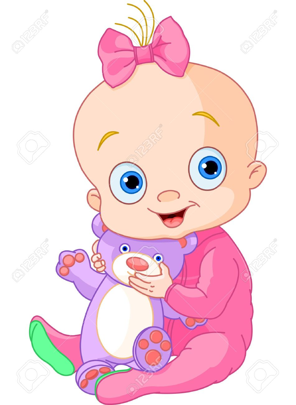 Illustration Of Cute Baby Girl With Teddy Bear Royalty Free Cliparts Vectors And Stock Illustration Image 13708514