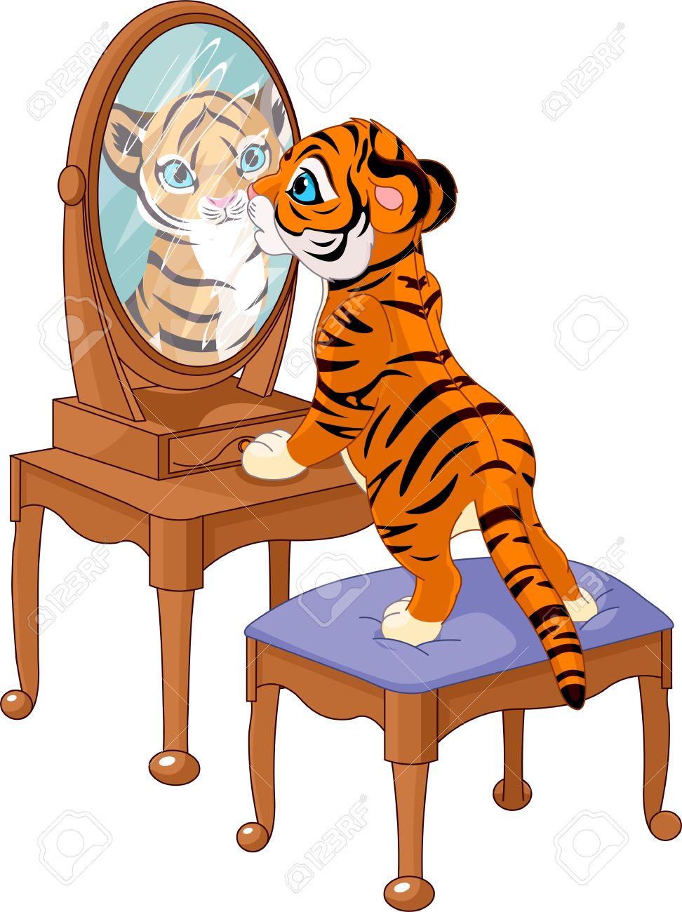 Cute tiger cub looking in the mirror Stock Vector - 13759239